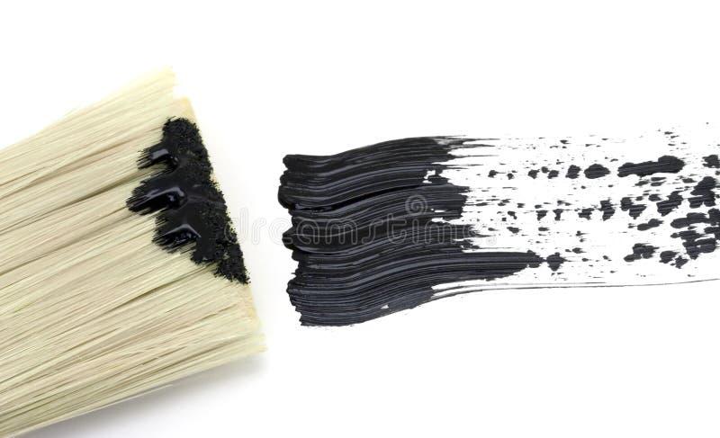 Het schilderen - Zwarte borstelslag met borstel