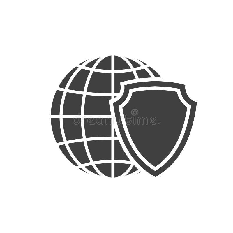 Het schildpictogram van de aardebol Wereldveiligheid teken Globaal Internet-het embleemsymbool van de netwerkbescherming - vector stock illustratie