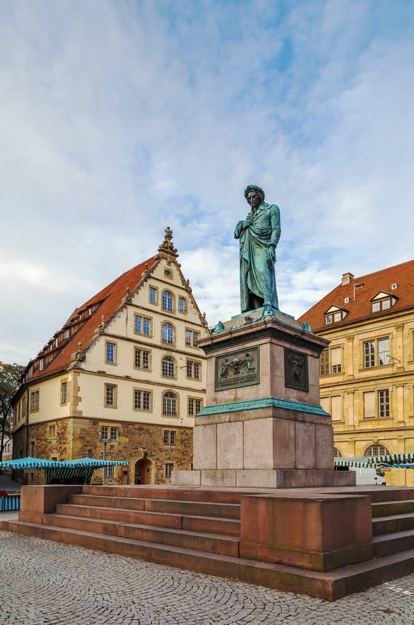 Het Schiller-gedenkteken, Stuttgart, Duitsland stock foto's