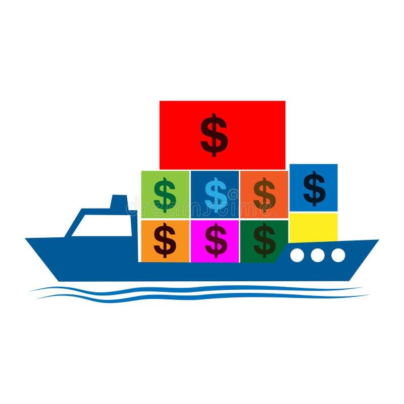 Het schip brengt een dollarpictogram Vector illustratie op witte achtergrond royalty-vrije illustratie