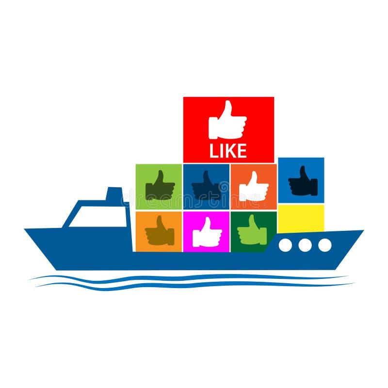 Het schip brengt een gelijkaardig pictogram Vector illustratie op witte achtergrond stock illustratie