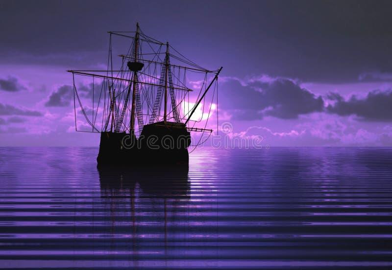 Het schip en de zonsondergang van de piraat royalty-vrije illustratie