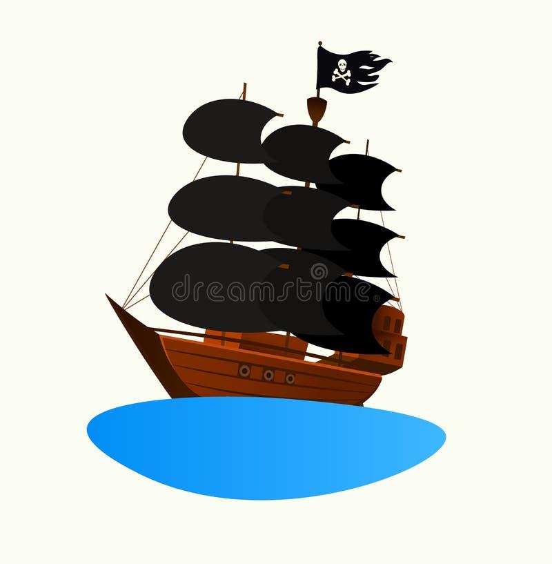 Het schip van de embleempiraat Uitnodiging voor een kinderen` s partij vector illustratie