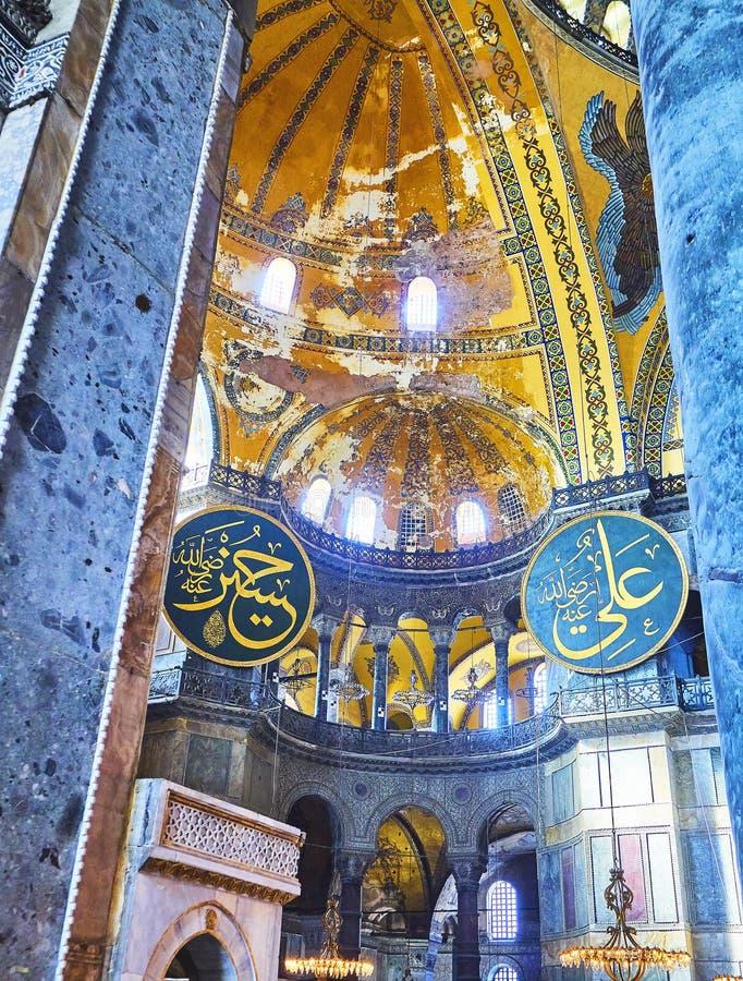 Het Schip van de moskee van Hagia Sophia Istanboel, Turkije royalty-vrije stock afbeeldingen