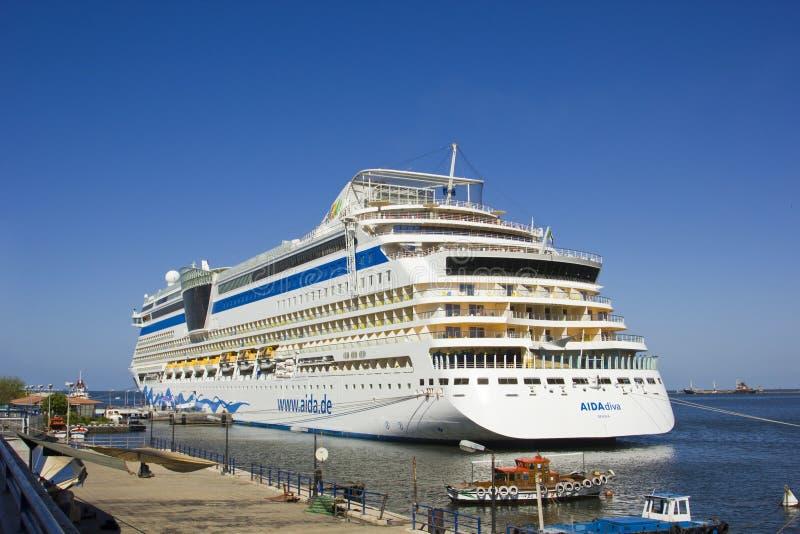 Het schip van de passagier AIDA, PORT SAID, EGYPTE stock fotografie