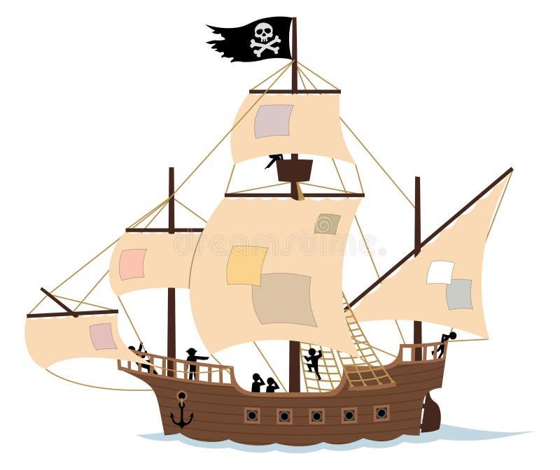 Het Schip van de piraat op Wit stock illustratie