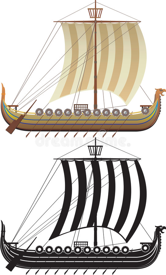 Het schip van Viking. De volledige versie en een contour stock illustratie