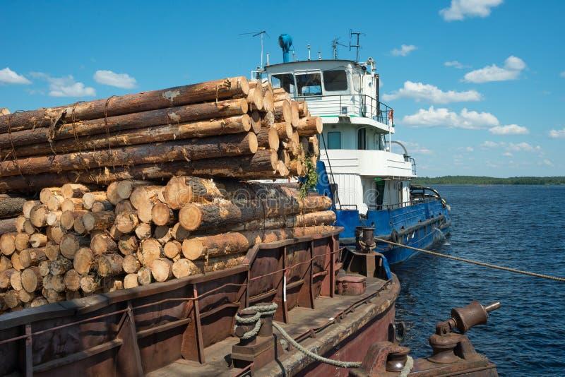 Het schip vervoerden hout royalty-vrije stock foto's