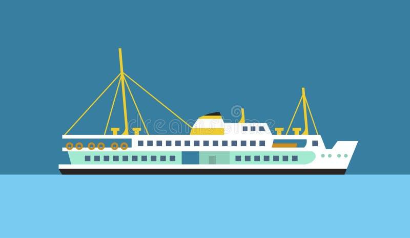 Het schip vlak vectorpictogram van de passagiersveerboot vector illustratie