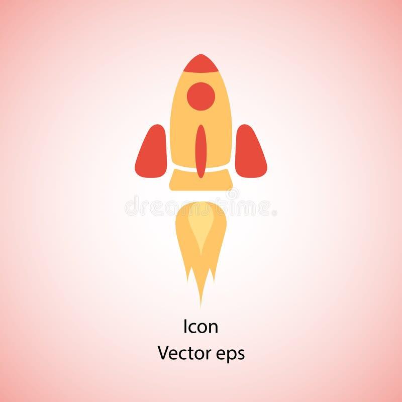 Het schippictogram van de kleurenraket in vlak ontwerp Vliegende raket in ruimte Een eenvoudig pictogram van een ruimteschip, Bee royalty-vrije illustratie