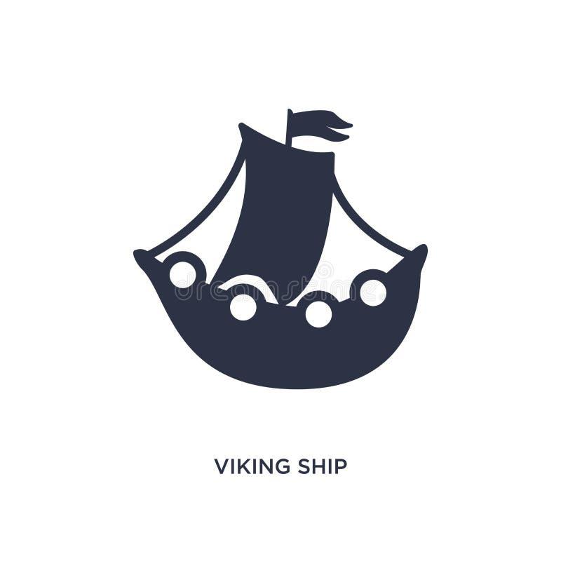 het schippictogram van Viking op witte achtergrond Eenvoudige elementenillustratie van geschiedenisconcept vector illustratie