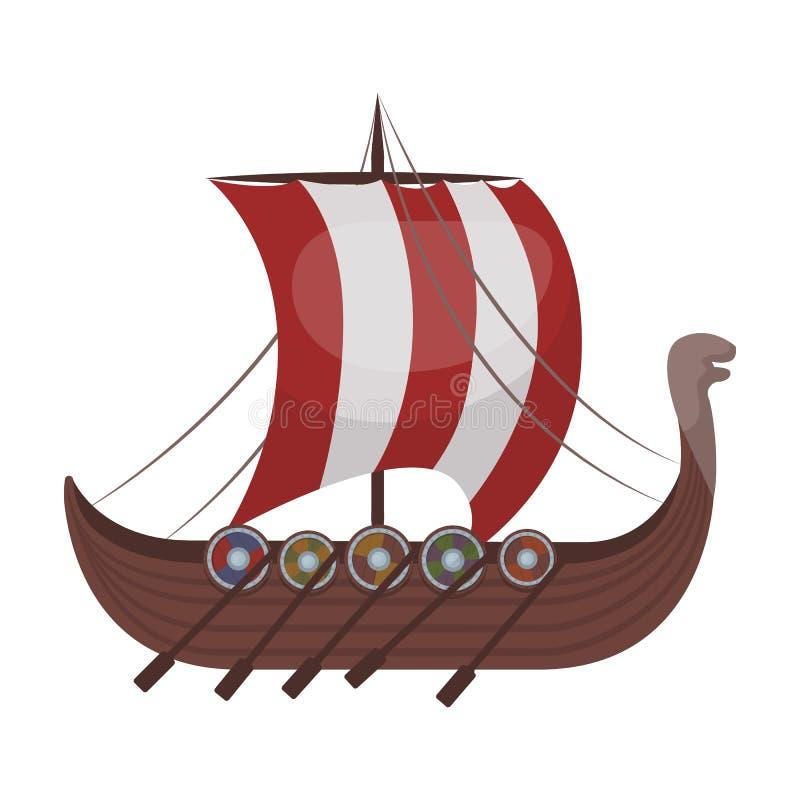Het schippictogram van Viking ` s in beeldverhaalstijl op witte achtergrond wordt geïsoleerd die Van de het symboolvoorraad van V royalty-vrije illustratie