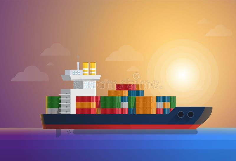 Het schiptransporten van de ladingscontainer containers bij de blauwe oceaan De vlakke en stevige vectorillustratie van de kleure royalty-vrije illustratie