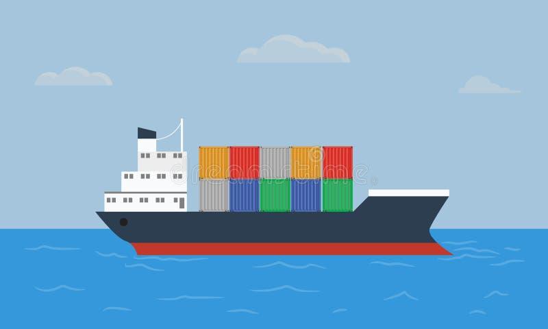 Het schiptransporten van de ladingscontainer containers bij de blauwe oceaan royalty-vrije illustratie