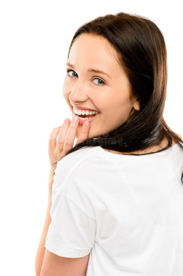 Het schitterende jonge meisje het glimlachen flirten geïsoleerd op witte backgroun stock foto's