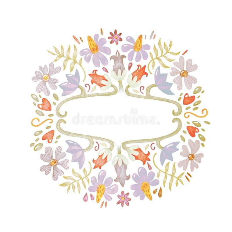 Het schitterende mooie hand getrokken van de de tekeningsillustratie van de potloodschets bloemen feestelijke botanische kader vector illustratie
