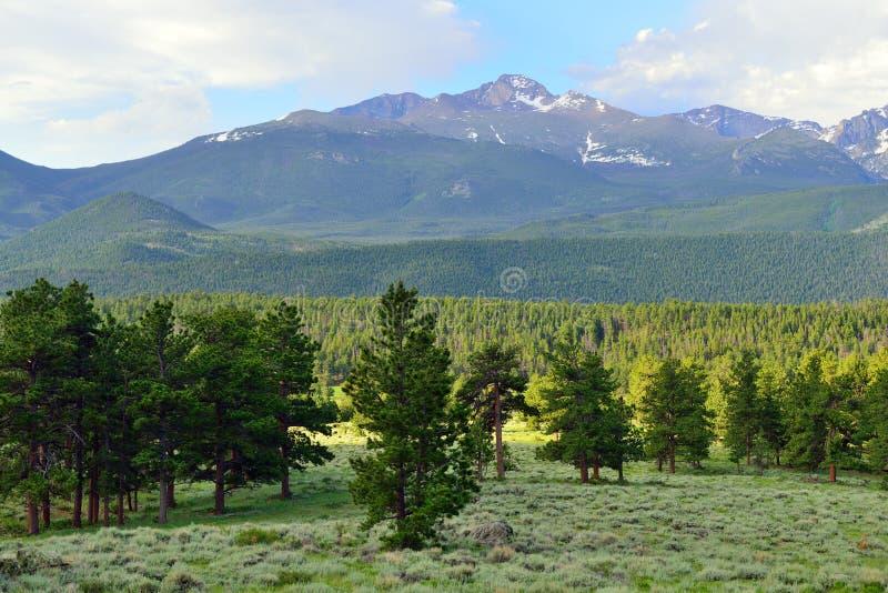 Het schitterende rotsachtige hoge alpiene landschap van het bergen nationale park, Colorado stock afbeelding