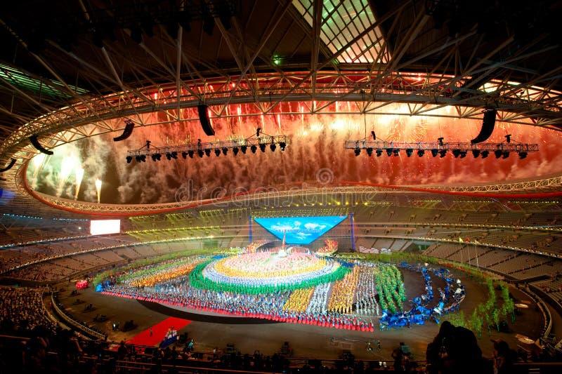 Het schitterende vuurwerk: de Zevende Nationale Stadsspelen die ceremonierepetitie openen stock foto's