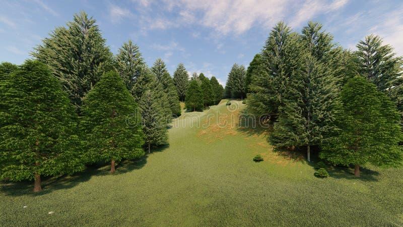 Het schone bergheuvel 3d teruggeven royalty-vrije stock foto