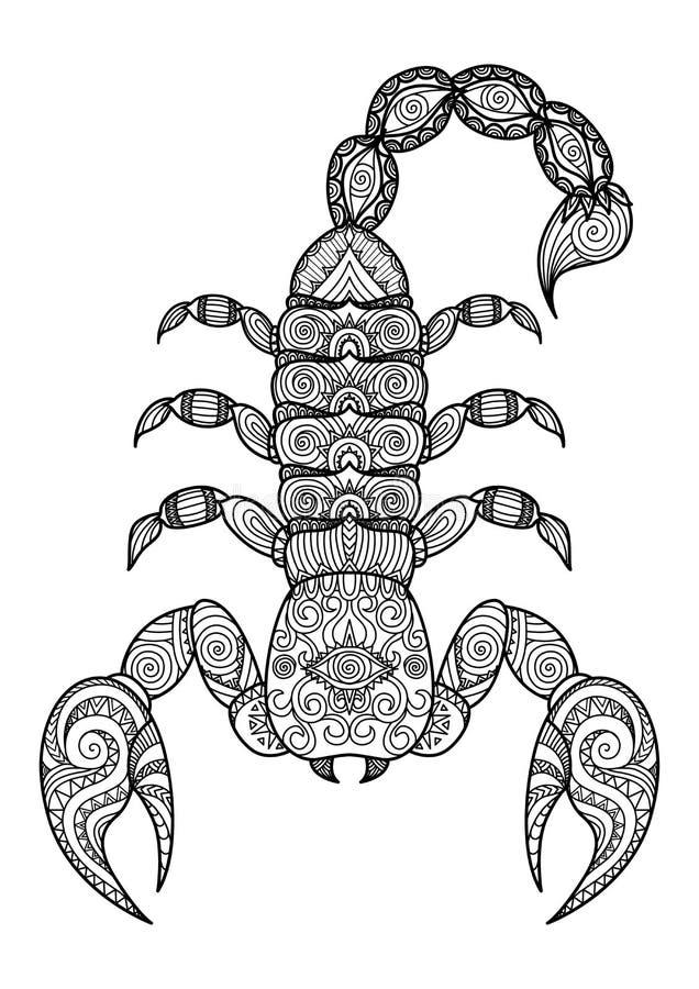 Het schone ontwerp van de lijnenkrabbel van schorpioen voor tatoegering, T-shirt Grafisch en volwassen kleurend boek - Voorraadve vector illustratie