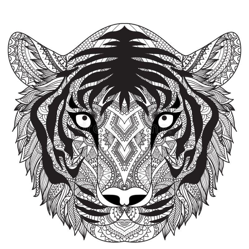 Het schone ontwerp van de lijnenkrabbel van tijgergezicht, voor T-shirt grafisch, tatoegering, kleurend boek voor volwassene etc. vector illustratie