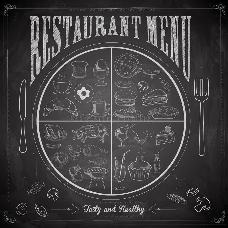 Het schoolbord van het restaurantmenu royalty-vrije illustratie