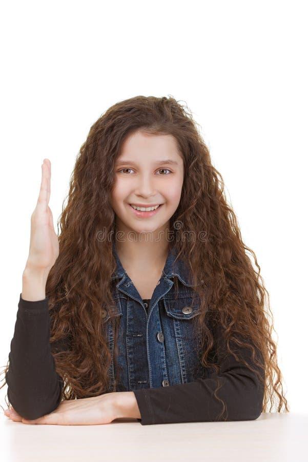 Het schoolmeisje heft haar hand op stock fotografie