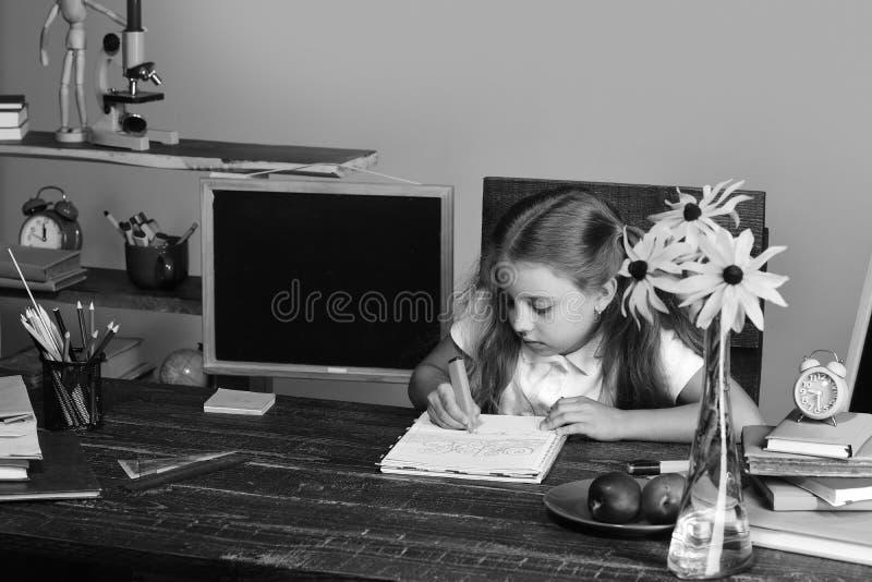 Het schoolmeisje met bezig gezicht trekt in kunstboek Het meisje zit bij haar bureau met boeken, bloemen, kleurrijke kantoorbehoe royalty-vrije stock afbeeldingen