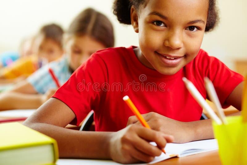 Het schoolmeisje van de tekening stock afbeelding