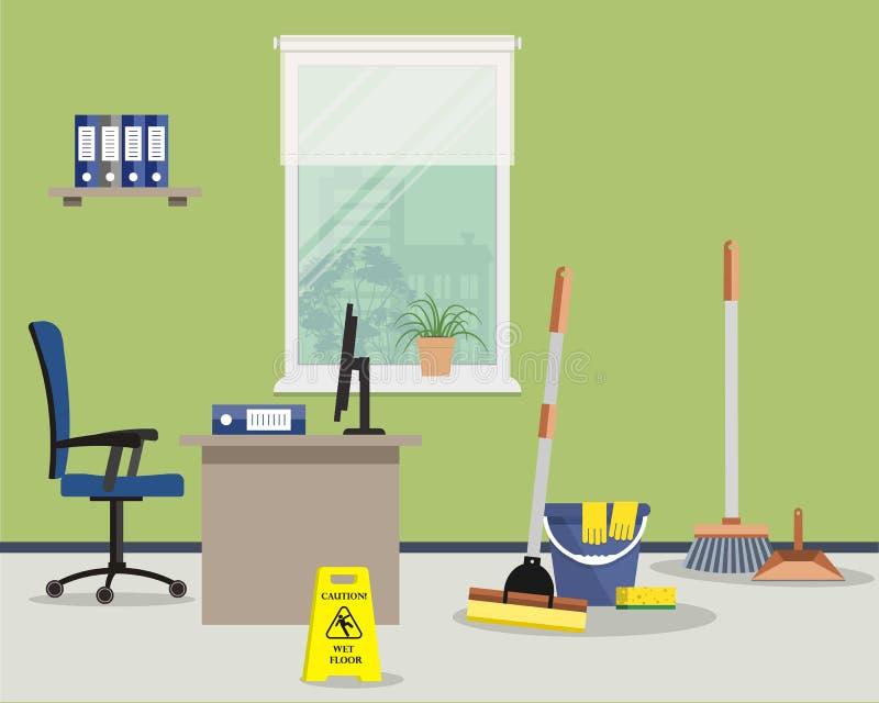 Het schoonmaken bij bureauconcept stock illustratie