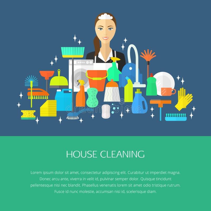 Het schoonmaken concept, affiche royalty-vrije illustratie