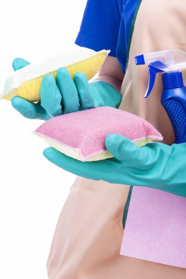 Het schoonmaken Concept: Vrouwelijke Handen met het Schoonmaken van Toebehoren royalty-vrije stock afbeelding