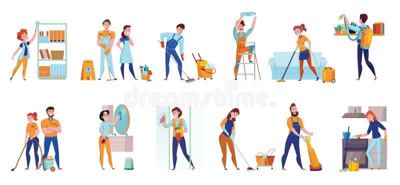 Het schoonmaken de Dienst Horizontale Reeksen vector illustratie