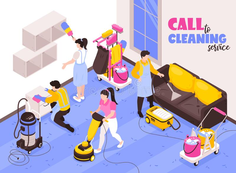 Het schoonmaken de Dienst Isometrische Samenstelling stock illustratie