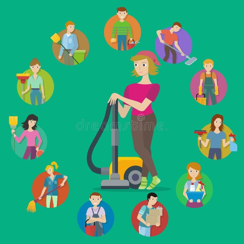 Het schoonmaken de reeks van het de dienstpictogram vector illustratie