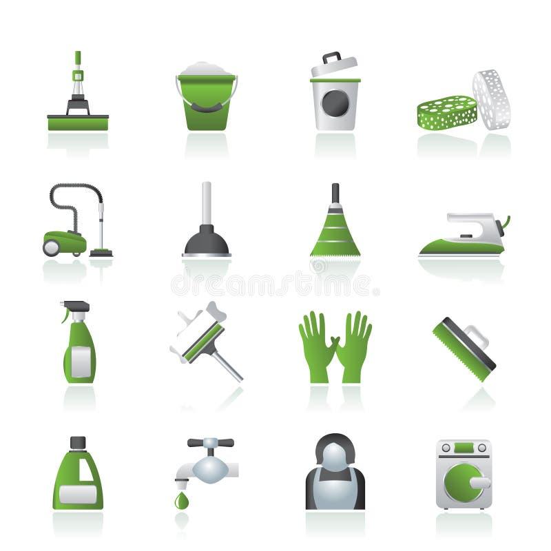 Het schoonmaken en hygiënepictogrammen stock illustratie