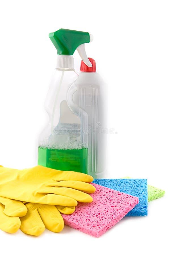 Het schoonmaken en hygiëneproducten stock afbeeldingen