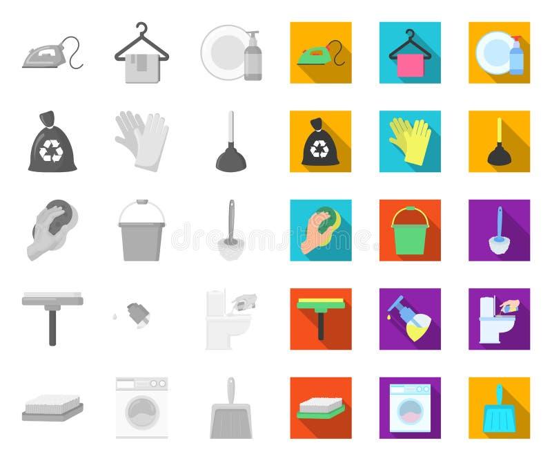 Het schoonmaken en meisje mono, vlakke pictogrammen in vastgestelde inzameling voor ontwerp Materiaal voor het schoonmaken het ve royalty-vrije illustratie