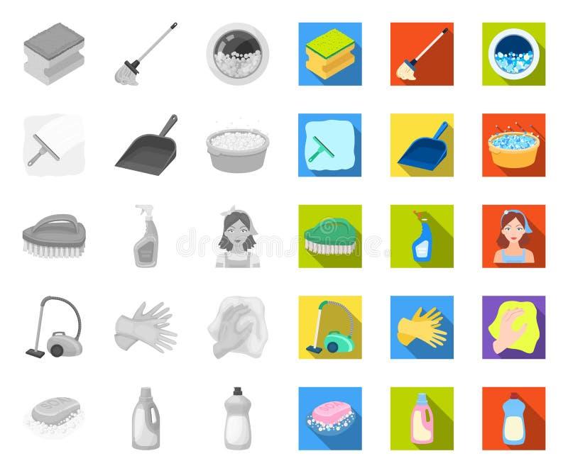 Het schoonmaken en meisje mono, vlakke pictogrammen in vastgestelde inzameling voor ontwerp Materiaal voor het schoonmaken het ve stock illustratie