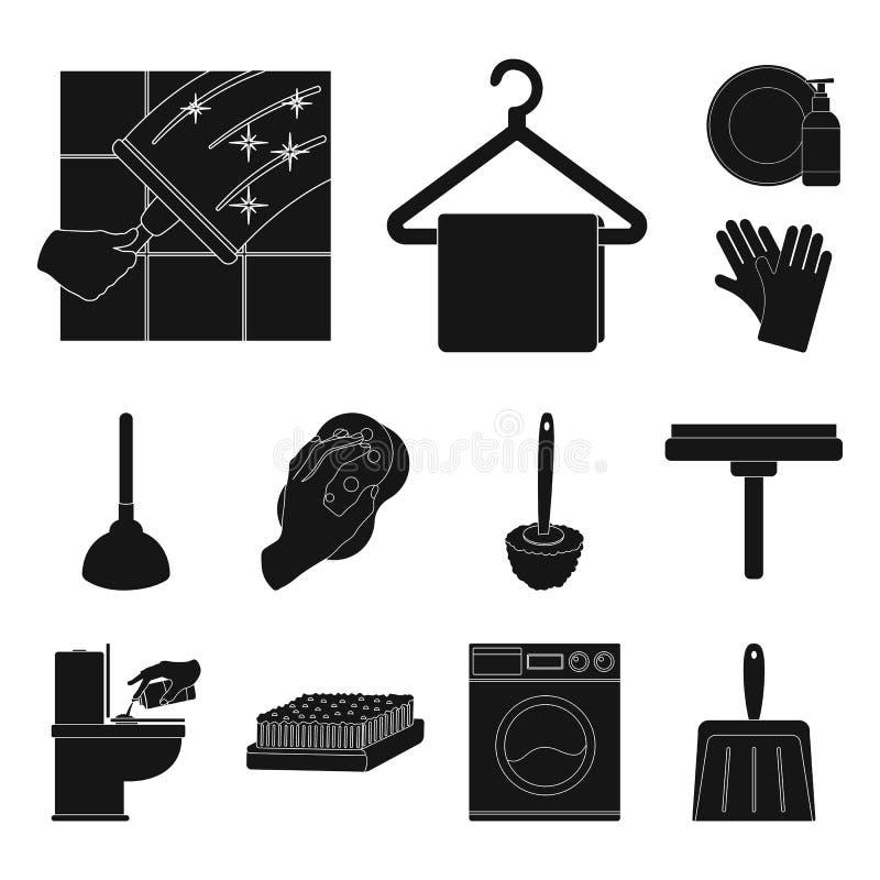Het schoonmaken en meisje zwarte pictogrammen in vastgestelde inzameling voor ontwerp Materiaal om vector het Webillustratie van  stock illustratie