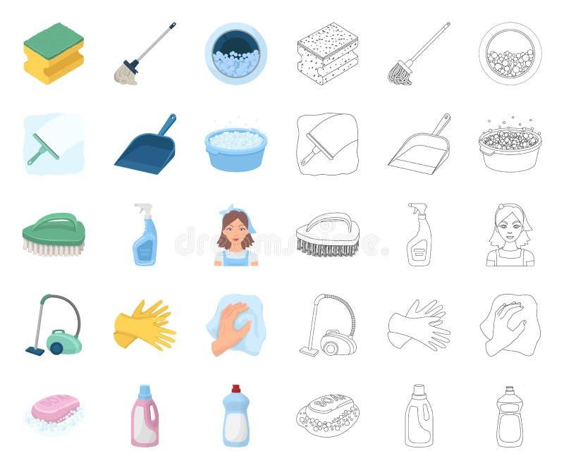 Het schoonmaken en meisjebeeldverhaal, overzichtspictogrammen in vastgestelde inzameling voor ontwerp Materiaal voor het schoonma royalty-vrije illustratie