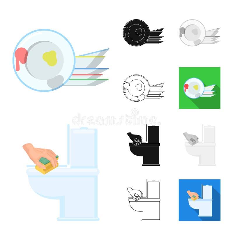 Het schoonmaken en het meisjebeeldverhaal, zwart-wit zwarte, vlak, schetsen pictogrammen in vastgestelde inzameling voor ontwerp  royalty-vrije illustratie