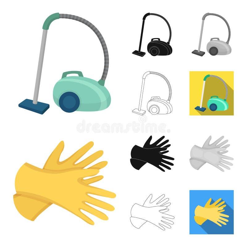 Het schoonmaken en het meisjebeeldverhaal, zwart-wit zwarte, vlak, schetsen pictogrammen in vastgestelde inzameling voor ontwerp  stock illustratie