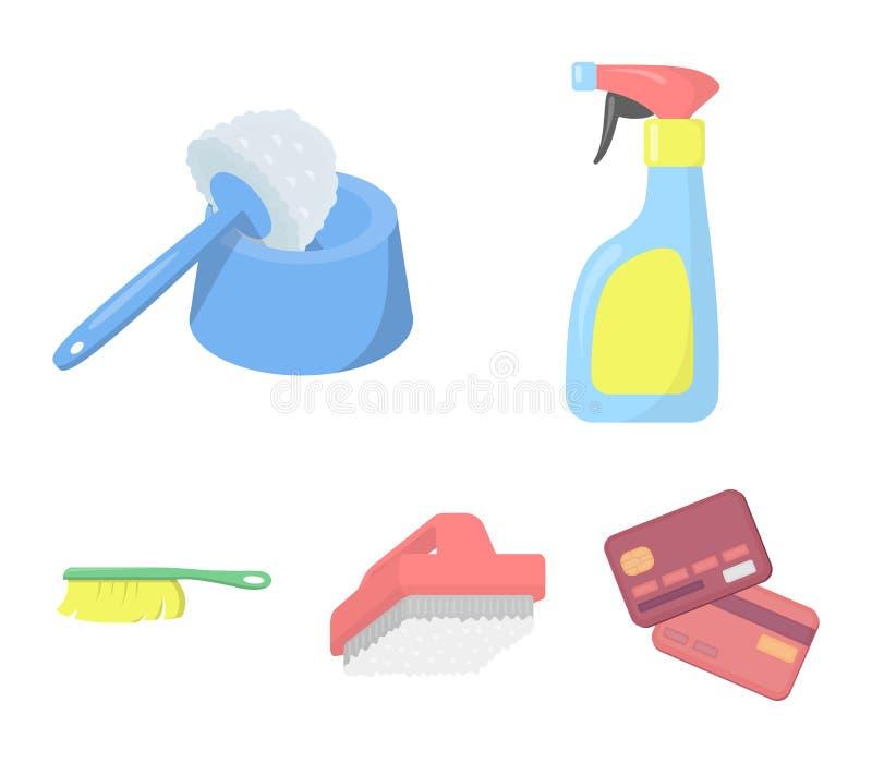 Het schoonmaken en meisjebeeldverhaalpictogrammen in vastgestelde inzameling voor ontwerp Materiaal voor het schoonmaken het vect stock illustratie
