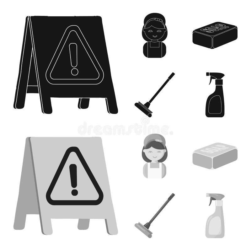 Het schoonmaken en meisjezwarte, monochrom pictogrammen in vastgestelde inzameling voor ontwerp Materiaal voor het schoonmaken he royalty-vrije illustratie