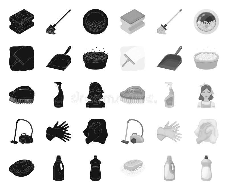 Het schoonmaken en meisjezwarte monopictogrammen in vastgestelde inzameling voor ontwerp Materiaal voor het schoonmaken het vecto vector illustratie