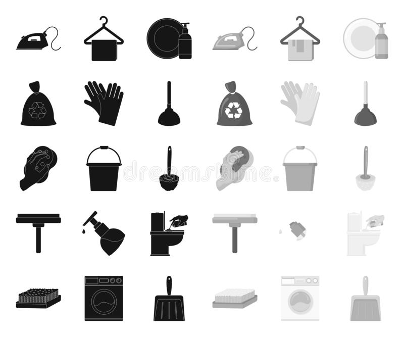 Het schoonmaken en meisjezwarte monopictogrammen in vastgestelde inzameling voor ontwerp Materiaal voor het schoonmaken het vecto royalty-vrije illustratie