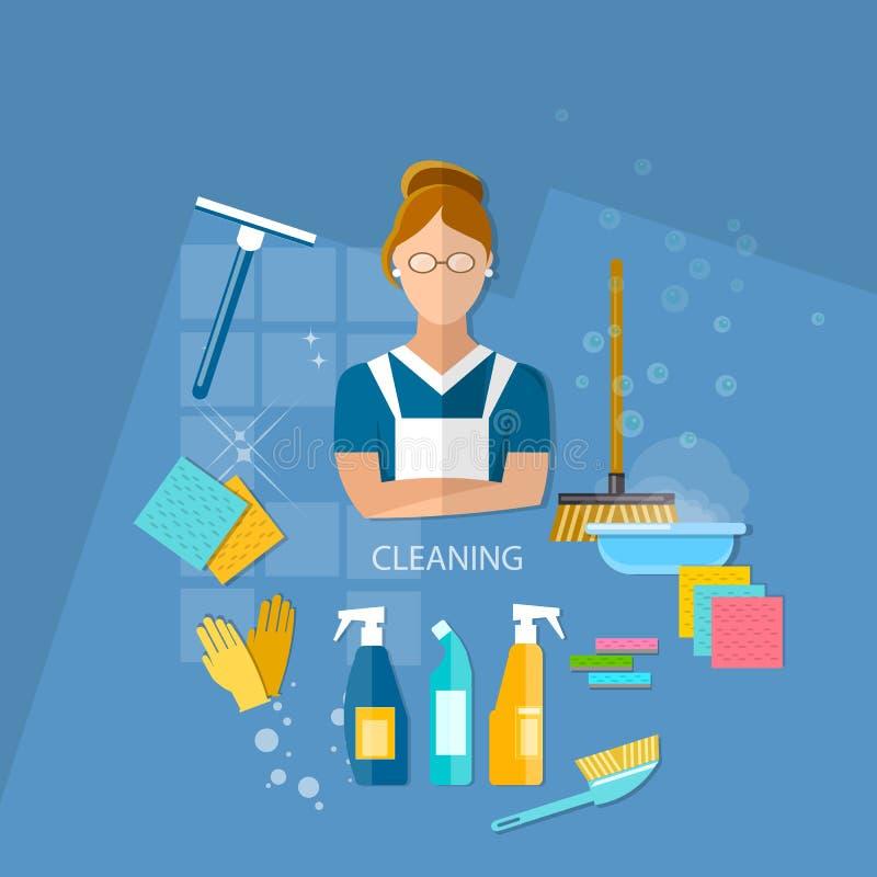 Het schoonmaken het huis van het de dienstmeisje het schoonmaken vector illustratie