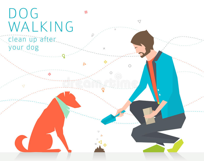 Het schoonmaken na hond vector illustratie