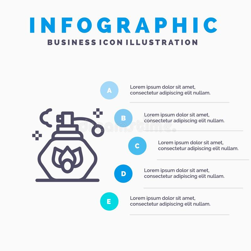 Het schoonmaken, Nevel, Schoon Lijnpictogram met infographicsachtergrond van de 5 stappenpresentatie vector illustratie